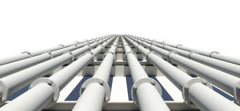 Many white industrial pipes stretching into Stock Photos