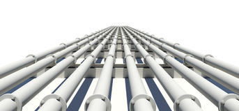 Many white industrial pipes stretching into Royalty Free Stock Photo