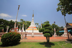 Many white pagodas of Thai temple Royalty Free Stock Image