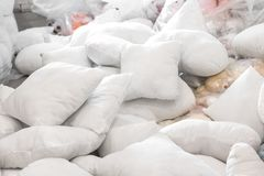 Many white pillow in product store for design business royalty free stock photo
