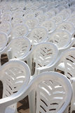 Many white plastic chairs Royalty Free Stock Images