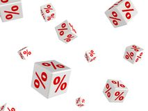 Many white sale percent cubes fall down Stock Image