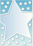 Many white stars. An advertising frame with a big star on a gradient background with little white stars Stock Photography