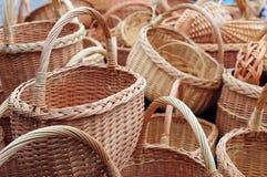 Many wicker baskets. Many yellow handmade wicker baskets royalty free stock photography
