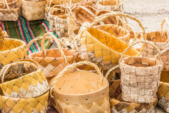 Many wicker baskets hands made. Many wicker baskets made from vines and birch bark with hands made royalty free stock images