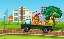 Many wild animal on the truck stock illustration