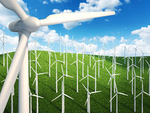 Many wind turbines in the field. Many wind turbines in the sky and grass background Stock Photos