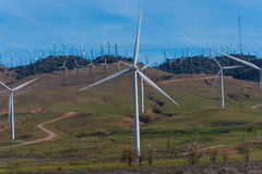 Many windmills on a hill with road Royalty Free Stock Images