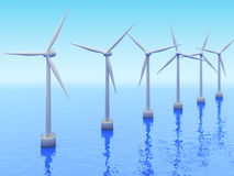 Many Windmills on sea Royalty Free Stock Images
