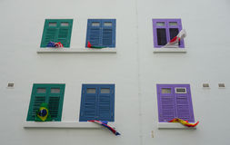 Many windows of the house in Little India, Singapore Stock Image