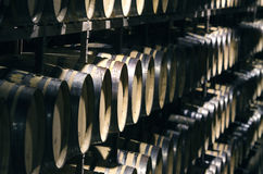 Many wine barrels in cellar Royalty Free Stock Images