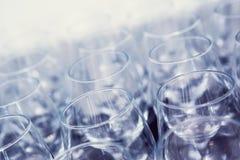 Many wine glasses high angle shot. On a bar Royalty Free Stock Photo