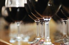 Many wine glasses in row Royalty Free Stock Photography