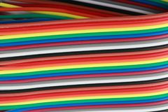 Many wire ribbon cable at dry sunny day Royalty Free Stock Photos
