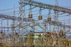Electric Power Station. Many wires in Electric Power Station stock photo