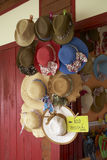 Many women hat in shop Stock Photography