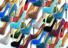 Many women's shoes. For background royalty free stock images