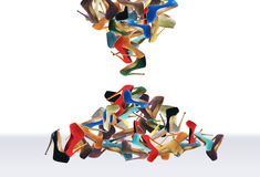 Many women's shoes. Fale like sand in hourglass stock photography