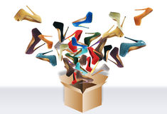 Many women's shoes. Fly out of the box. Big sale stock photography