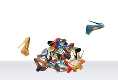 Many women's shoes. Many women's multicolored shoes. Big mountain footwear royalty free stock photo