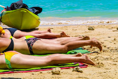 Many women sunbathing, Krabi Thailand Stock Photos