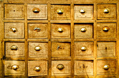 Many wood drawer box Royalty Free Stock Images