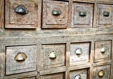 Many wood drawer box stock image