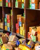 Many Wooden Alphabet toy blocks Stock Photo