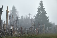 Hill of Crosses in the mist. royalty free stock photos