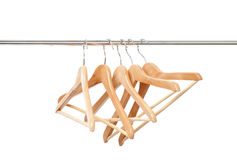 Many wooden hangers Royalty Free Stock Photo