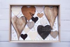 Many Wooden Hearts In A Box Stock Photos
