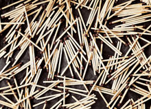 Many wooden household safety matches lying chaotically Stock Images