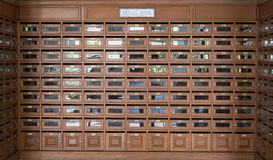 Many wooden mailbox used for many people Stock Photography