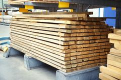 Many wooden planks. In hardware store royalty free stock photo