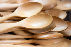 Many wooden spoons Stock Images