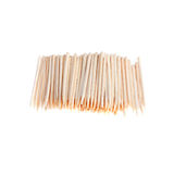 Many wooden toothpicks isolate white. Many wooden toothpicks on a white background Royalty Free Stock Image
