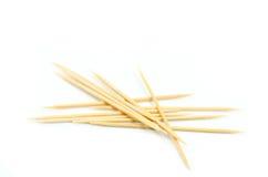 Many wooden toothpicks isolated on white background Stock Photos