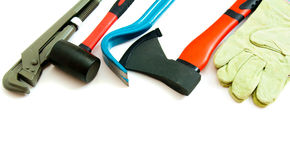 Many working tools - axe, glove and others on Royalty Free Stock Images