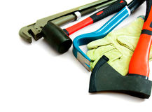 Many working tools - axe, glove and others on Stock Image