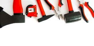 Many working tools - axe, hammer, pliers and Stock Photo