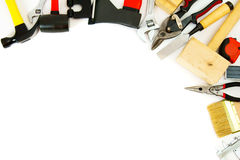 Many working tools - axe, hammer, scissors and Royalty Free Stock Photography