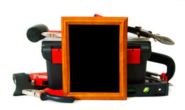 Many working tools in the box with frame on white Stock Photo