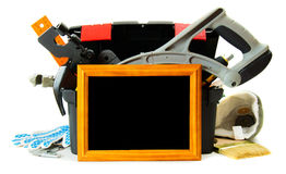 Many working tools in the box with frame on white Royalty Free Stock Photos