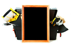Many working tools in the box with frame on white Stock Photography