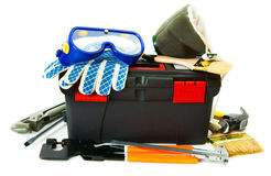 Many working tools in the box on white background. Working tools in box . Many working tools in the box on white background Stock Photos