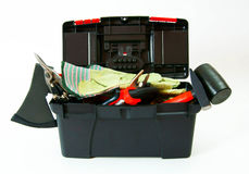 Many working tools in the box on white background. Working tools in box . Many working tools in the box on white background Stock Images