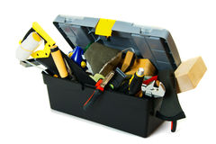 Many working tools in the box on white background Royalty Free Stock Image