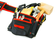 Many working tools in the carrying case on white. Working tools in carrying case . Many working tools in the carrying case on white background Stock Image