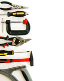 Many working tools - clamp, hammer and others on Stock Photography