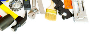 Many working tools - hammer, ruler, spanner and Stock Photos